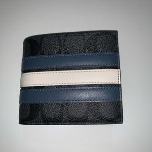 NWT Coach billfold men blue wallet F26072